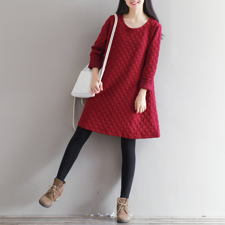 Autumn And Winter Dot Wine Red Loose Women Dresses Knitting Casual Retro Brief Dress Free Shipping
