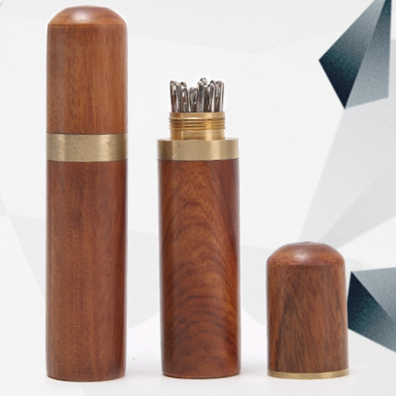 Durable Practical Wood Box Leather Knitting Craft DIY Sewing Needles Housing font b Case b font