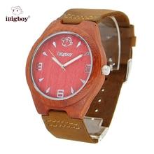 2016 Nuevos Relojes de Los Hombres Mujeres Reloj De Madera Padauk Madera Redwood Natural Bambú Correas de reloj de Cuero Relojes de Cuarzo Reloj de Pulsera Para Hombre