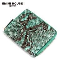 EMINI HOUSE Snakeskin Zipper Short Wallet Genuine Leather Green Serpentine Women Wallets And Purses Multifunction Coin