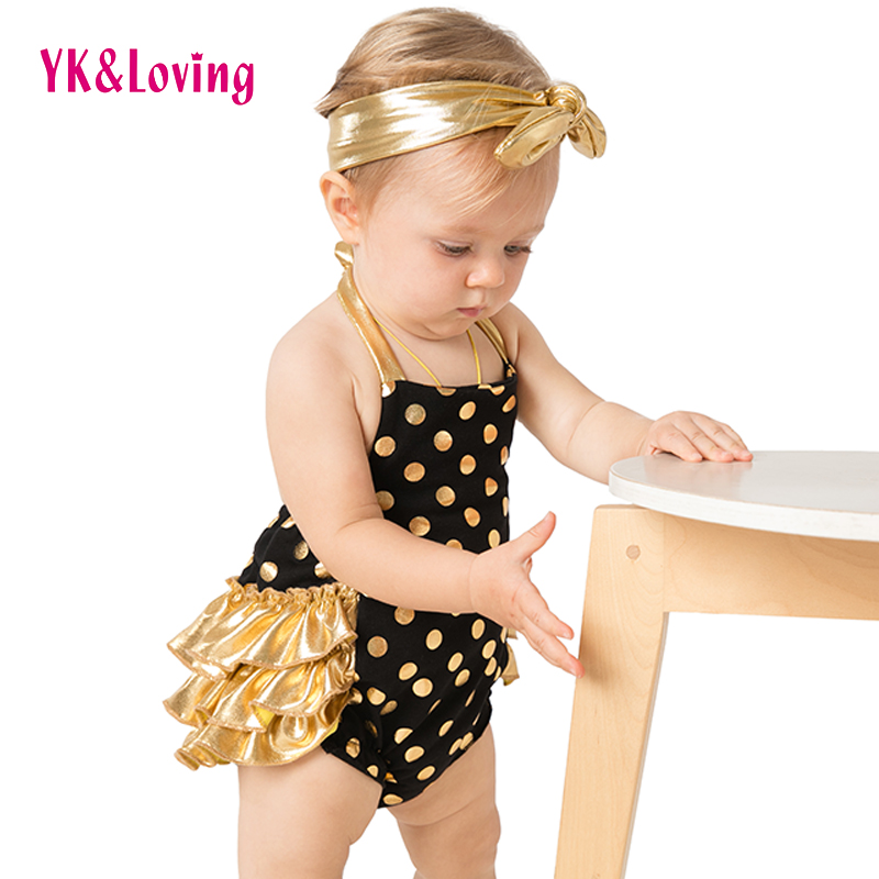 YK Loving Summer Style Ruffled baby girl Romper Polka Dots Girls Bubble Bloomer Newborn Baby Costum Cotton Belt clothes outfits in Clothing Sets from Mother Kids