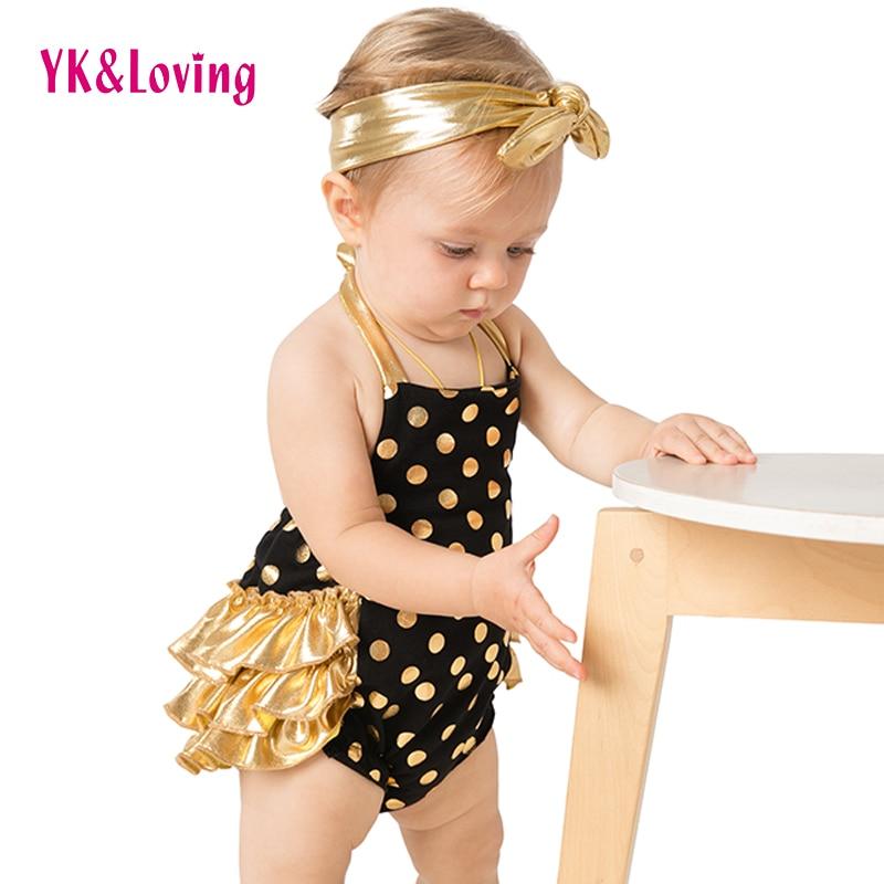 YK a milující letní styl Ruffled baby girl Romper Polka Dots - Oblečení pro miminka