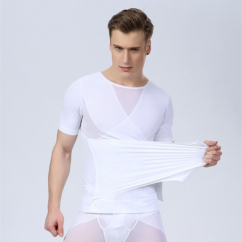Men's short-sleeved thin girly abdomen corset vest shaping clothes tight underwear slimming...