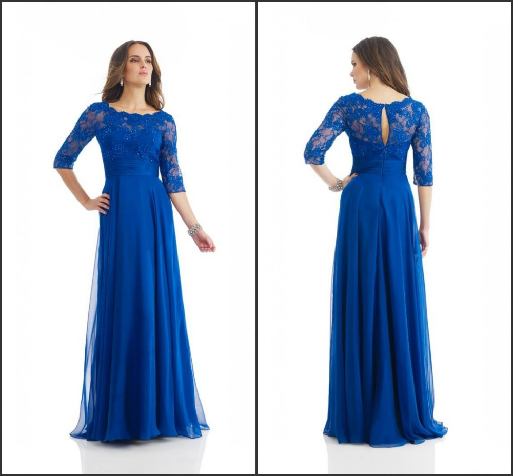 Plus Size Sexy Scoop Royal Blue Mother Of The Bride Lace