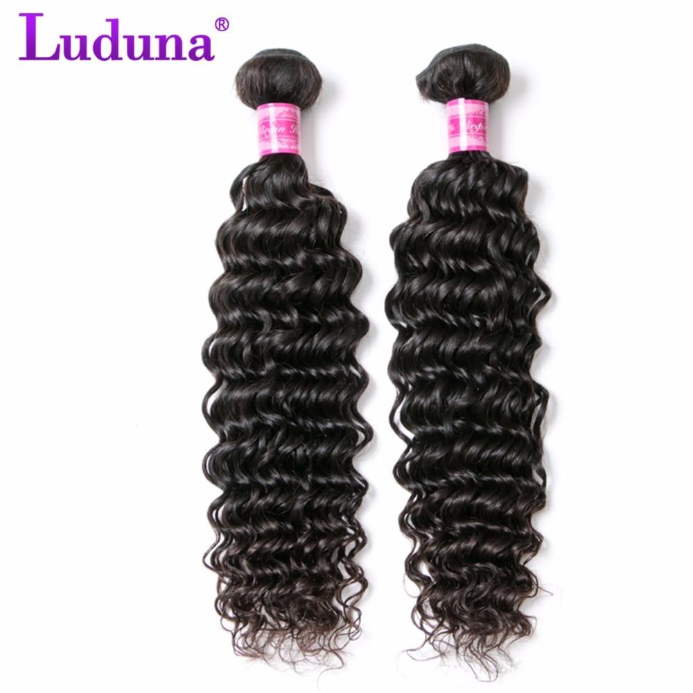 Luduna Deep Wave Brazilian font b Hair b font Weave Bundles 1Pcs Non remy font b