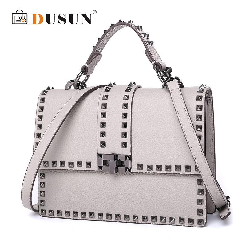 DUSUN 2018 New Rivet luxury Genuine Leather Bags For Women Solid Shoulder Handbags Two Shoulder Straps Button Bag Lock Hasp 2017 special offer direct selling interior compartment genuine leather women shoulder bags hasp two solid soft tote solid bag