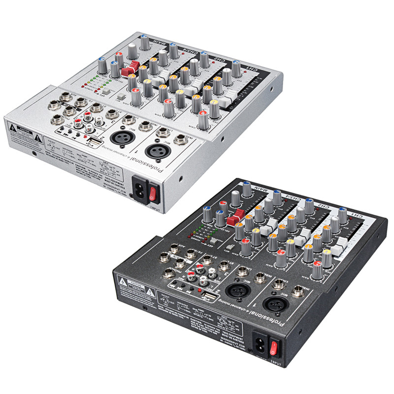 4 Channel Professional Live Mixing Studio Audio Sound Console 48V USB Mixer Console Network Anchor Sound Card Black White audio mixer cms1600 3 cms compact mixing system professional live mixer with concert sound performance digital 24 48 bit effects