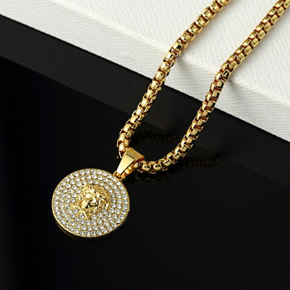 Aliexpress.com Comprar Nueva moda 18 k gold filled colgante , collar para  hombre joyería hip hop rock oro cadena larga del collar de gargantilla  vintage de