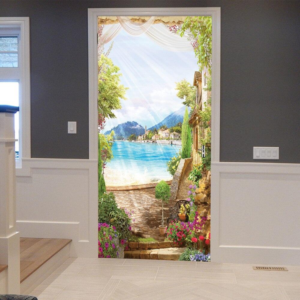 3D αυτοκόλλητη πόρτα καμάρες λουλούδι - Διακόσμηση σπιτιού - Φωτογραφία 2
