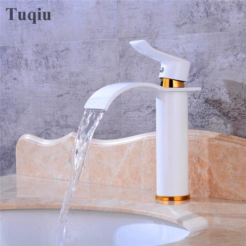 Livraison gratuite blanc/bronze salle de bain évier robinet mitigeur monotrou salle de bain bassin robinet froid et chaud cascade robinet