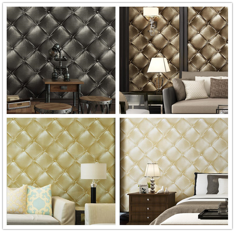 Luxury Faux Leather 3d Wallpaper For Wall Living Room Bed