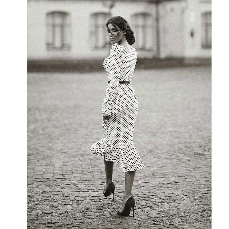 Elegant White Knotted Strap Polka-dot Mermaid Hem Summer Pencil Midi Dress Women Slim Bodycon Office Lady Ruffle Dresses 1