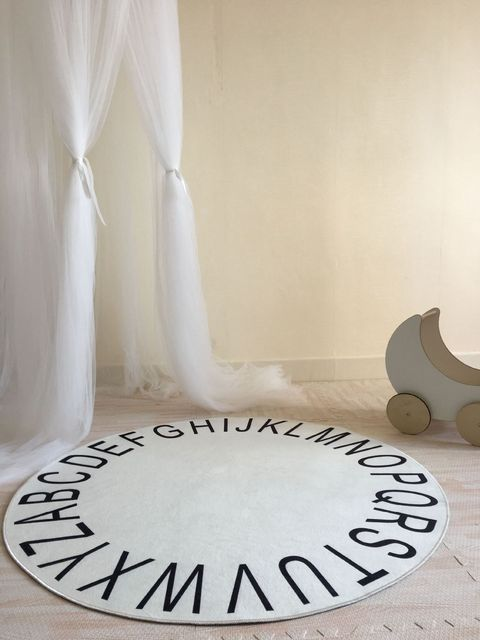 Cotton White Round Abc Rug Mat 26 English Word Letter Carpet Children Photography Backdrop Room
