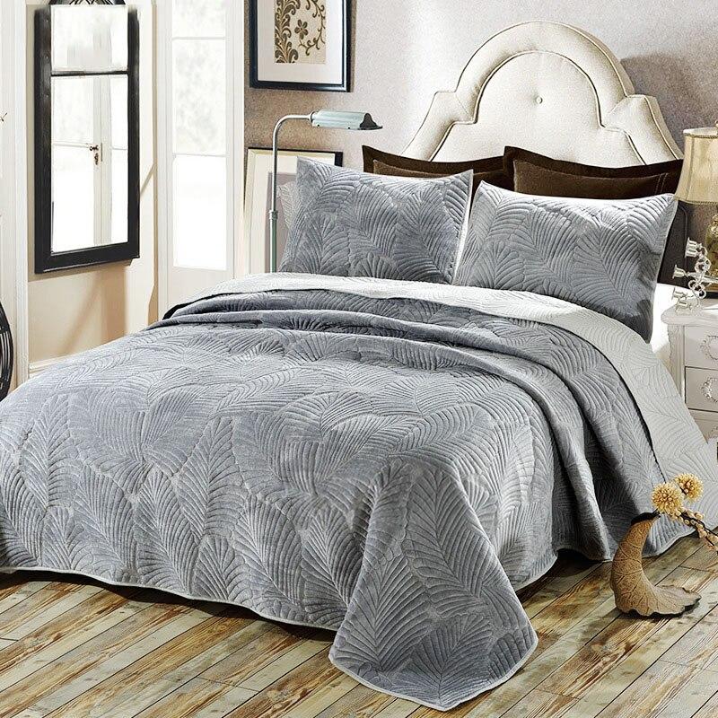 아메리칸 코튼 침대보 퀼트 세트 3 pc 커버 렛 플러시 침구 수 놓은 퀼트 침대 커버 베개 케이스 킹 퀸 사이즈 담요-에서누비이불부터 홈 & 가든 의  그룹 1