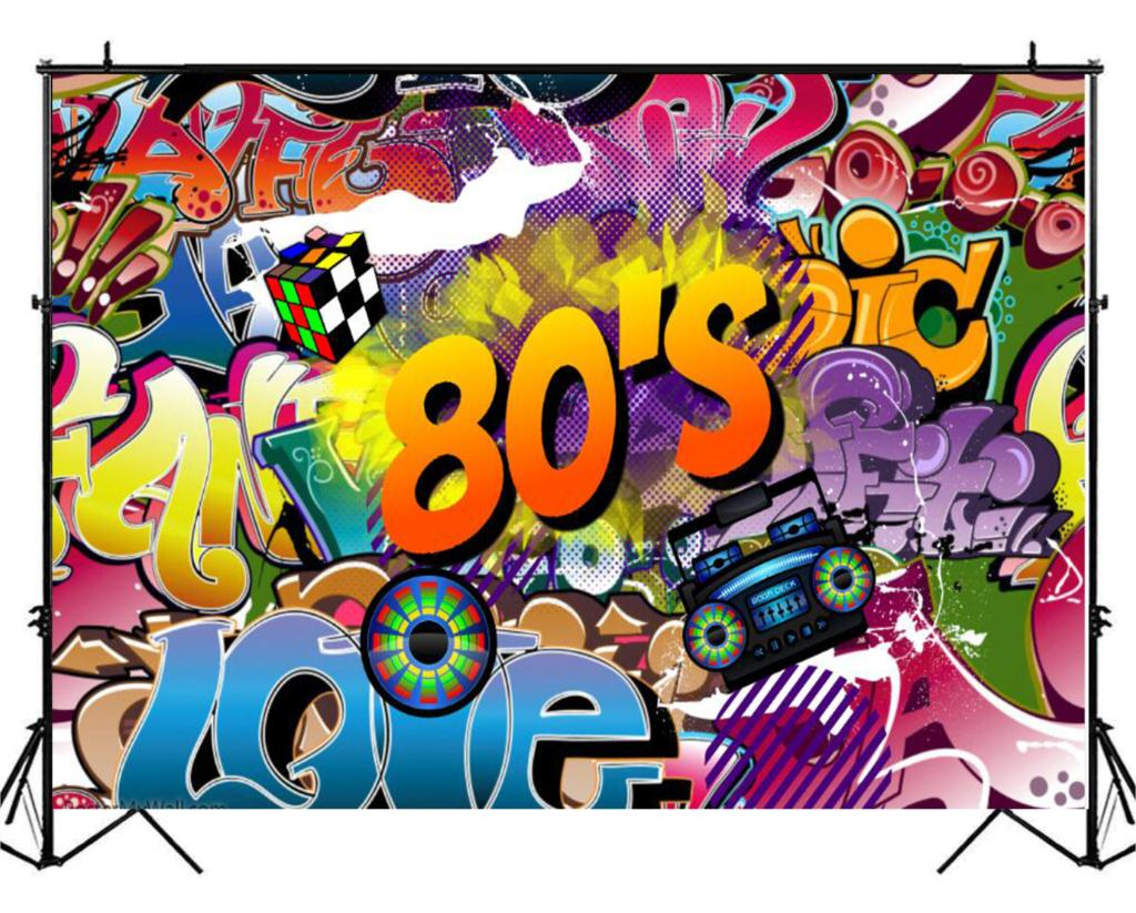 80th themed photography backdrop birthday 80s party decoration graffiti wall photo background music banner photo booth sm 106 in background from consumer
