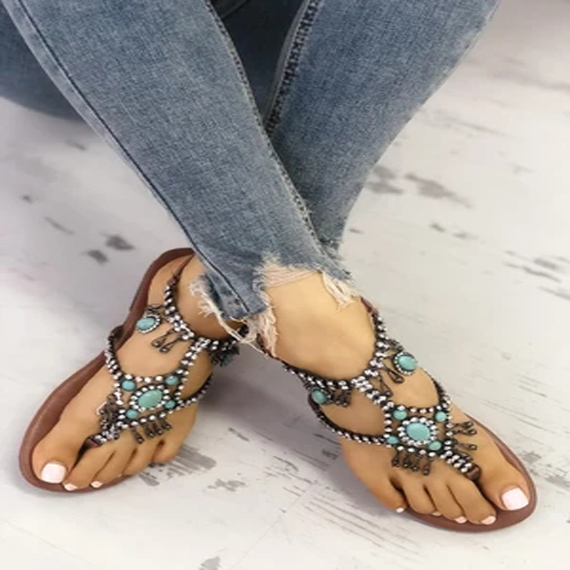 NAN JIU MOUNTAIN Shoes Woman New Beaded National Wind Wave Simian Toe Woman s  Flat Sandals Comfortable Plus Size 34-43. size 1 2 3 ... 1429b10194af