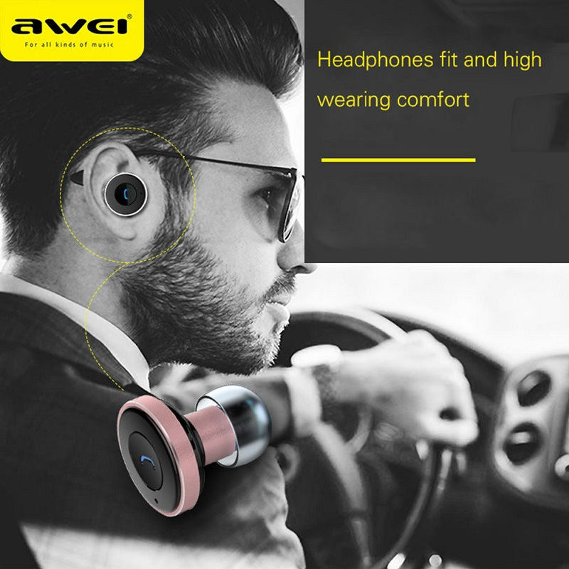 AWEI A870BL Wireless Bluetooth Earphones For Sony iPhone Earpiece With Microphone 2 In 1 With Car Charger In-Ear Mini Earphone headphones car charger bluetooth in ear headset earphone earpiece combo wireless connection hands free with microphone 2 in 1