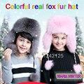 Nova rússia chapéu forrado a pele do inverno boy girl real fox fur hat pai-filho crianças colorfu earmuff chapéu forrado a pele quente das mulheres fox chapéu forrado a pele da orelha cap