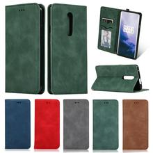 For Oneplus 7 Pro Case Luxury Leather Wallet Flip Case OnePlus 7 Pro Cover With Card Slot Magnetic Case Vintage Soft Silicone