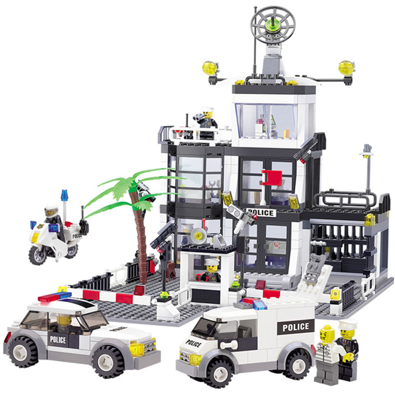 631 Pcs City Police Station 6725 Building Blocks Action Figure Baby Toys Children Building Bricks Compatible with Legoe 1700 sluban city police speed ship patrol boat model building blocks enlighten action figure toys for children compatible legoe