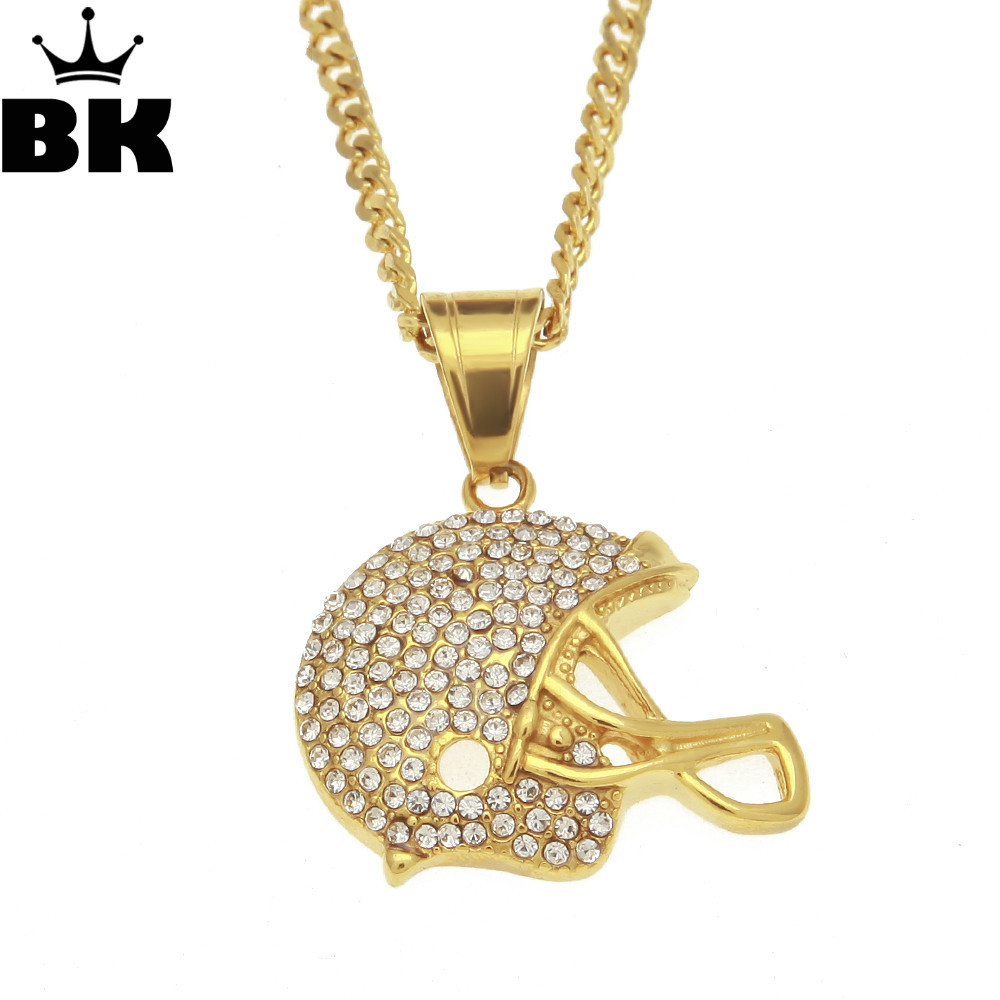 Hip Hop Bling Gold Tone American Football Helmet Pendant Iced Out Rhinestone Mini Charm Necklace With 3mm 24inch Cuban chain