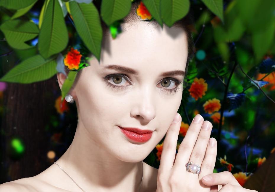 HTB141m.a2fM8KJjSZPfq6zklXXa2 FENASY Big Pearl Jewelry 925 Sterling Silver Ring For Women Natural Freshwater Pearl Ruby Flower Cubic Zirconia CZ Boho Ring