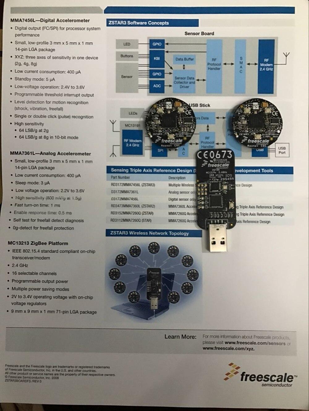 Zigbee Evaluation Development Board ZSTAR3 2.4 GHz MC13213 USB Stick+Sensor