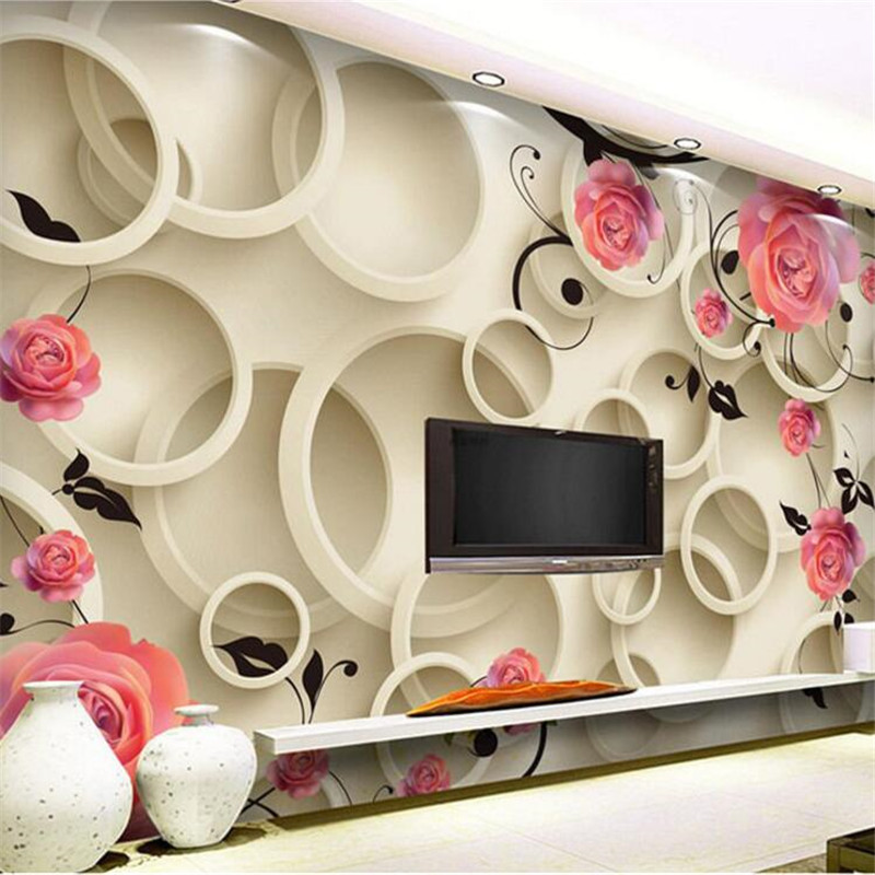 3D photo wallpaper 3d Rose circle fantasy floral living room sofa bedroom backdrop 3D large wall mural wallpaper Modern painting