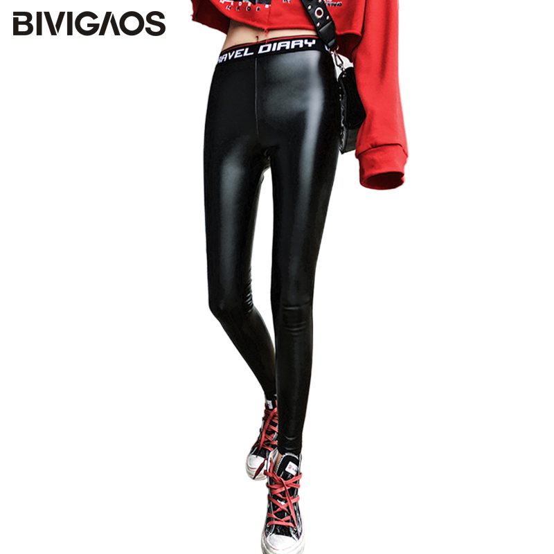 BIVIGAOS New Autumn Winter Korean Knit Letter Waist   Leggings   Casual Sexy Slim PU Leather Pants Skinny Black   Leggings   Women
