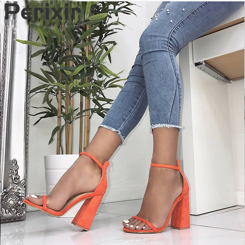 Perixir Women Pumps Fashion Heels Sandals For Women Summer Shoes Wedding Heels Women Buckle Strap High Heels Size 36-41
