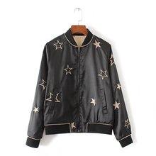 female jacket satin bomber jacket Women Coat femail Flight Suit fashion star embroidered reversible black outwear women clothing
