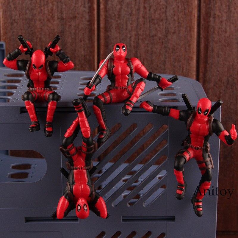 Leggende Marvel X-men Deadpool Mini PVC Figure Hot Toys Deadpool Giocattolo Decorazione della Casa Auto Bambola con Magnete 4 pz/set 8.5 cm