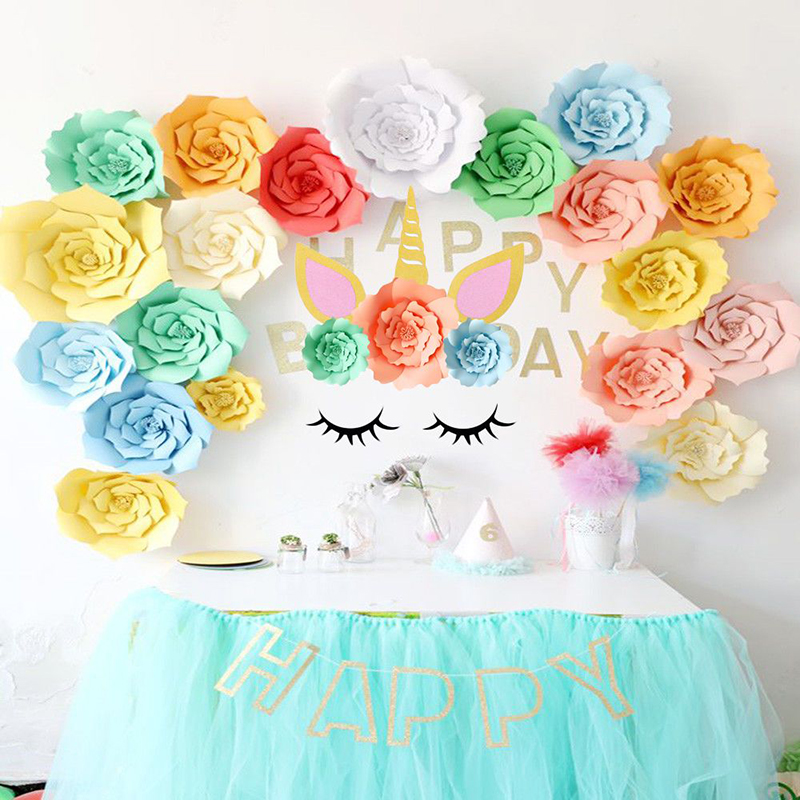 DIY Unicorn Theme Party Decor Sets Artificial Rose