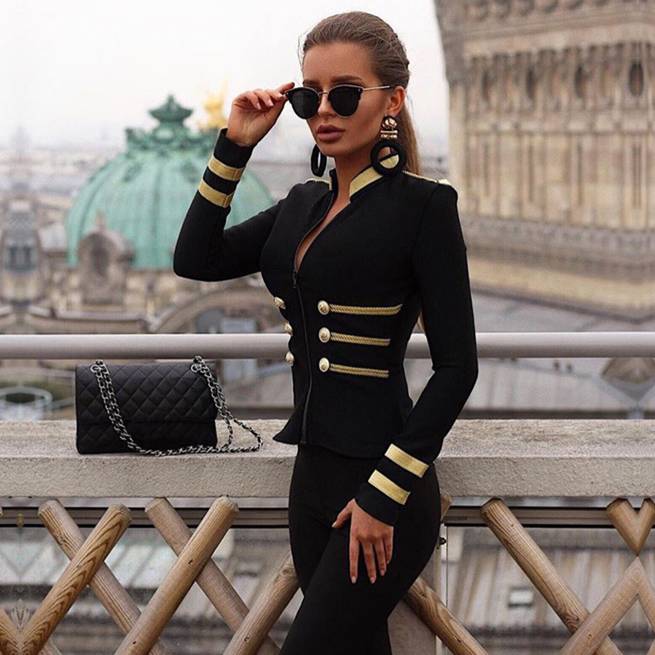 Adyce 2019 New Winter Women Fashion Slim Bandage Trench Coat Sexy Black Front Zipper Celebrity Party