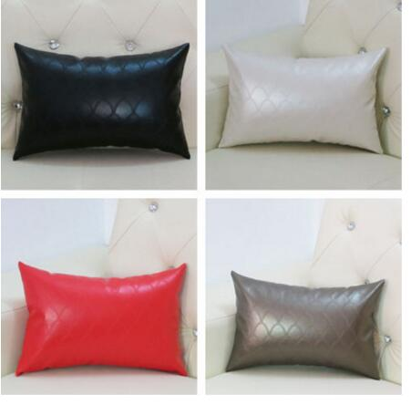 waterproof PU leather back cushion cover sofa pillowcase decorative waist pillow case car pillow cover chair image