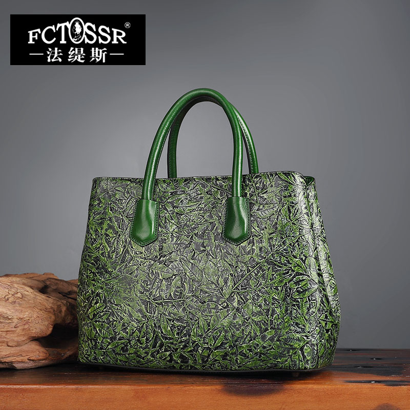 Women Handbags Genuine Leather Shoulder Bag Female Hand Painted Messenger Crossbody Bag Green Color Women Tote women genuine leather character embossed day clutches wristlet long wallets chains hand bag female shoulder clutch crossbody bag