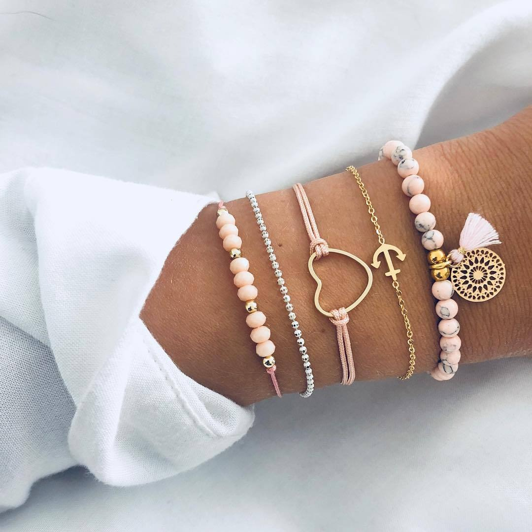 0264656366 Multilayer Bohemian Handmade Pink Crystal Beads Bracelets for Women Vintage  Fashion Heart Tassel Bracelet Bangles Jewelry Gifts