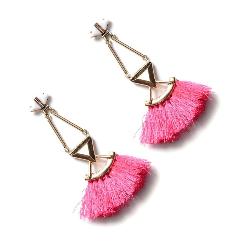 Long Tassel Earings ZA Fashion for Women Bohemain Fringe Pendant Jewelry Ethnic Boho Big Pink Dangle Stud Drop V Earring Wedding