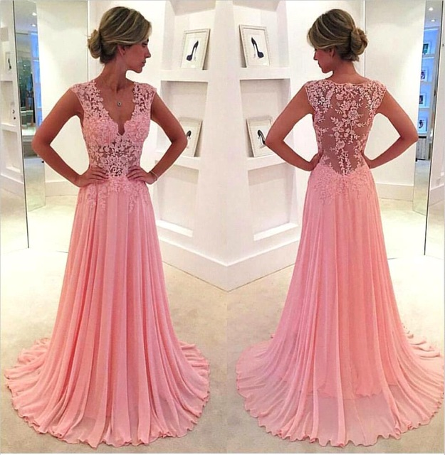 2017 Elegant V Neck A Line Long Evening dresses Plus Size Cheap Sleeveless V Neck Chiffon