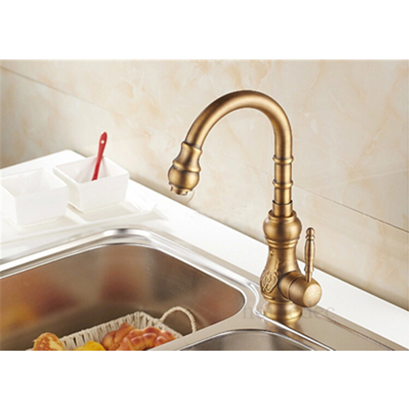 Hot Sale Antique Brass Kitchen Faucet Basin Bathroom Faucet Swivel Spout Single Handle Sink Mixer Water Tap Torneira Cozinha kemaidi high quality brass morden kitchen faucet mixer tap bathroom sink hot and cold torneira de cozinha with two function