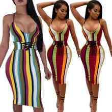 Striped Sleeveless Knee Length Bandage Bodycon Dress