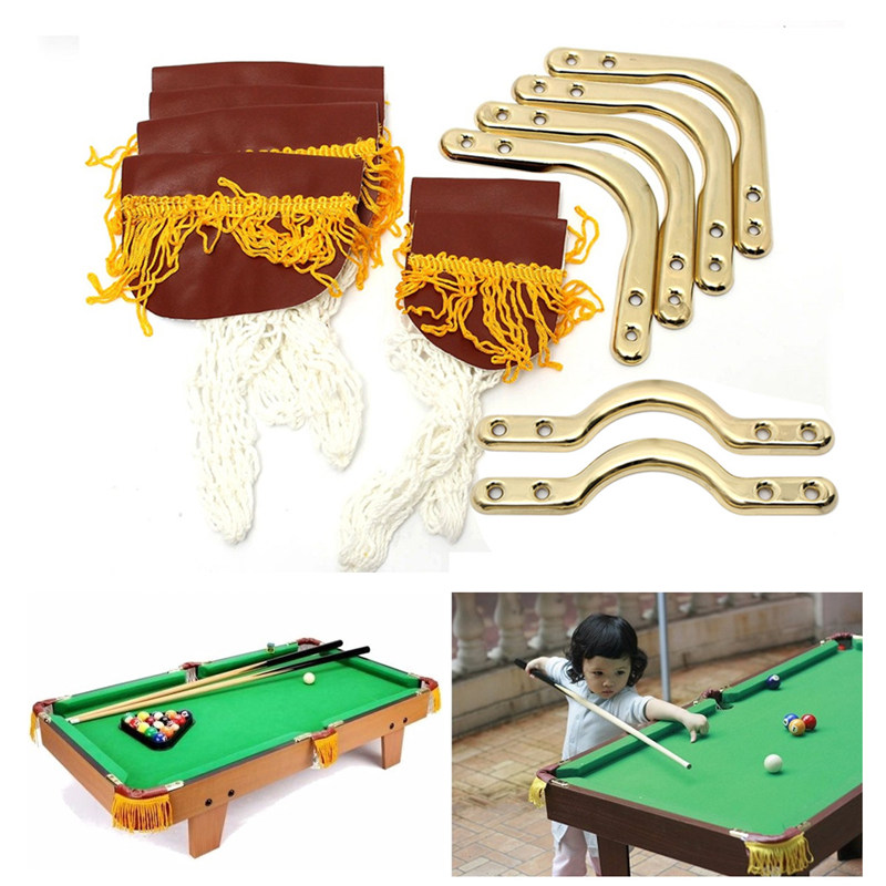 Newest 13PCs/Set PU Leather Kids Snooker Billiards Children Pool Table Corner/Side Net Bag+Corner/Side Irons Replacement Part
