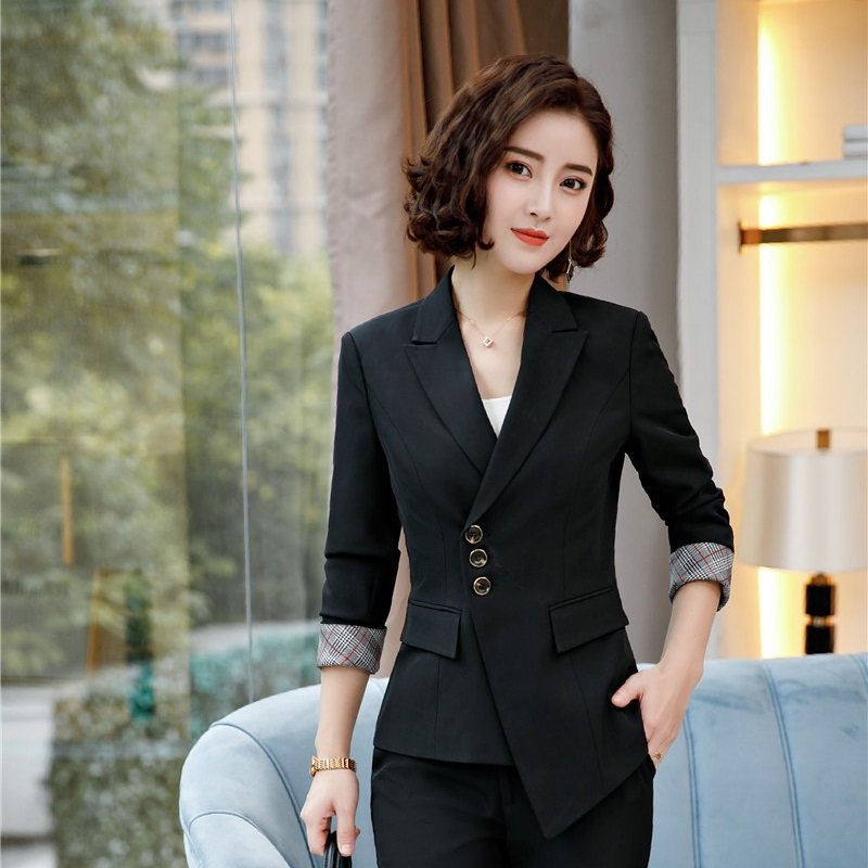 2018 New Styles Spring Fall Irregular Long Sleeved Blazers And Jackets Coat For Business Women Female Tops Clothes Outwear Black