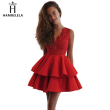 HAMBELELA Elegant Lace Dresses Ever Pretty Layered V-Neck Red Short Party Dresses Women 2018 New Arrival Summer Dresses
