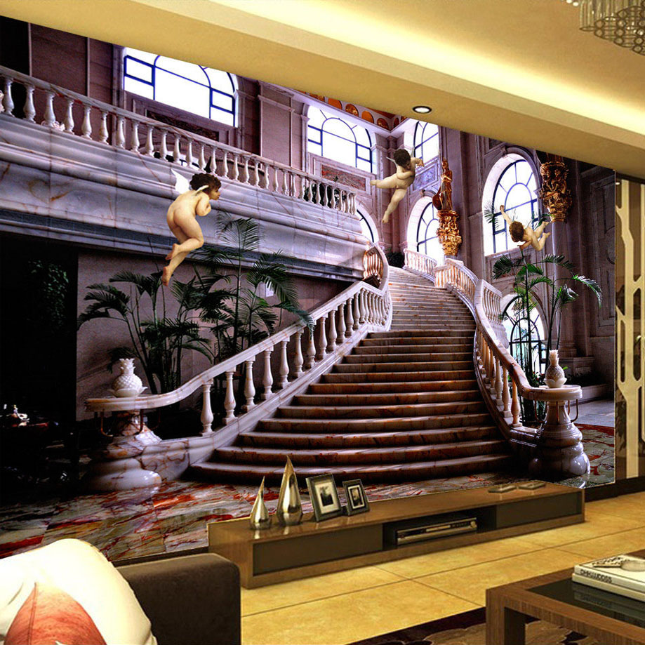 Custom mural wallpaper european style angel hall staircase for Custom mural wallpaper