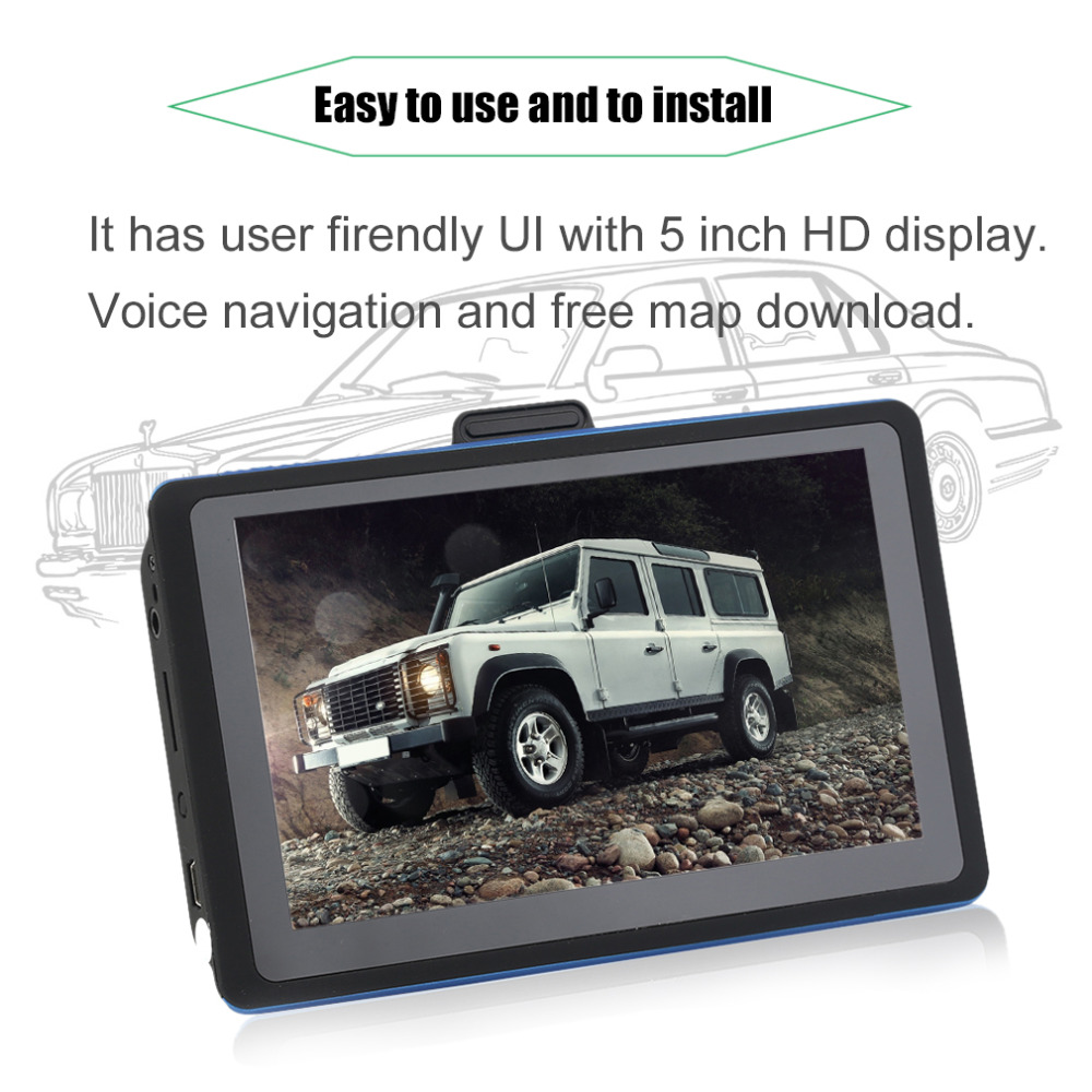8G 5 Inch HD Display Cars Truck Vehicles GPS Sat Nav Navigation System Automobile Navigators Free Map Download