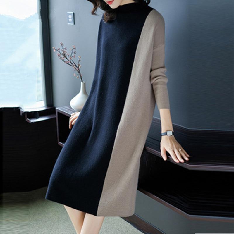 Europe Women 2019 Autumn Winter Stitching Fashion Long Sleeve Dress Female Half Turtleneck Knee-Length Knitted Dress A1139