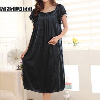 انظر من خلال حجم كبير مثير النساء ملابس خاصة الإناث الجليد الحرير الحرير ثوب النوم فستان طويل السيدات قمصان النوم ليلة #10