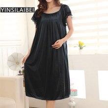 Ladies Nightwear Sleepwear Ice-Silk-Satin Sexy Women Plus-Size See-Through Female Long