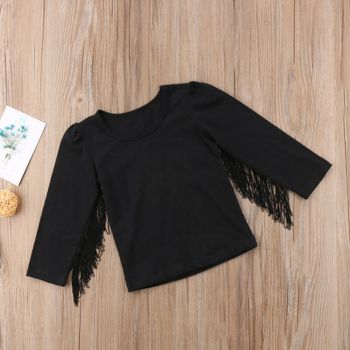 e04efc2b4 2018 New Fashion Kids Baby Girls Tassel Tops Shirt Casual Long ...